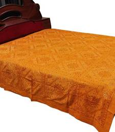 Buy Embroidered Mirror Work Yellow Double Bedcover bed-sheet online