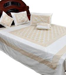Buy Cream White Silk Double Bed Cover with 4 pillow cover bed-sheet online