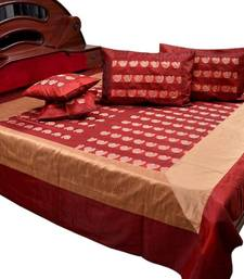 Buy Banarasi Fine Silk Double Bed Cover with 4 pillow cover bed-sheet online