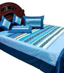 Buy New Designer Silk Double Bed Cover Cushion Set bed-sheet online