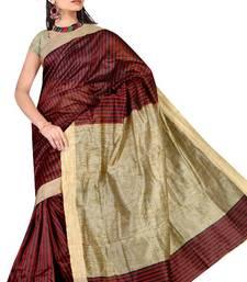 Buy MAROON KHICHA PATTI SAREE cotton-saree online