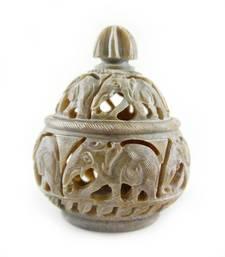 Buy Hand craved handi shaped candle holder(Elephant Design) candle online