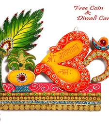 Buy Diwali decoration - Kalash and Om Symbol Wall Art with wood and clay art work diwali-decoration online