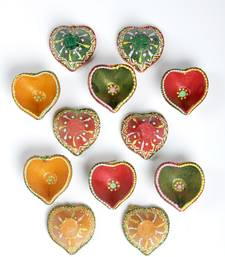 Buy Set of 12 hand painted diyas . Chottulal pot online