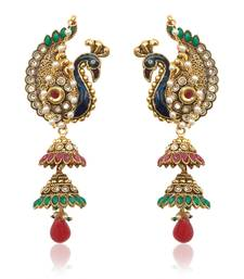Buy Peacock motif maroon green Kashmiri jhumka earring India women jewelry v550 jhumka online