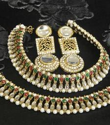 Gold Plated Handcrafted White colour Earrings & Maroon & Green colour Anklets with Pearl & Kundan shop online