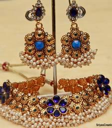 Buy ROYAL BLUE PEARL - NKJ05 necklace-set online