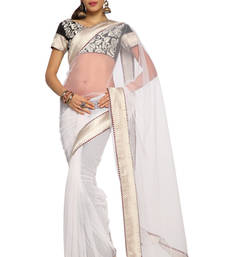 Buy White Embroidered Net Saree With Blouse (1454) net-saree online