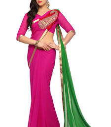 Buy Deep Magenta Embroidered Faux georgette Saree With Blouse (1508) georgette-saree online
