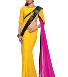Buy Yellow / Magenta Embroidered Faux georgette Saree With Blouse (1512) georgette-saree online