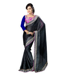 Buy Hypnotex Black Embroidered Chiffon Print Saree With Blouse bridal-saree online