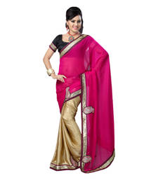 Buy Hypnotex Pink Cream Embroidered Chiffon Satin Saree With Blouse bridal-saree online