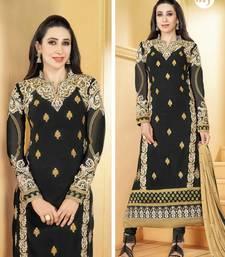 Buy Black Embroidery Pure Georgette Semi Stitched Designer Straight Suit anarkali-salwar-kameez online