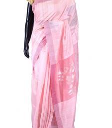 Buy Baby pink tussar fabric saree in purple border & baby pink blouse-SR5456 tussar-silk-saree online