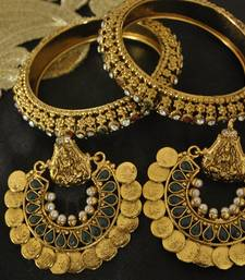 Buy Ram Leela Pearl Earrings with Gold Plated Maroon & Green stone Bangles party-jewellery online