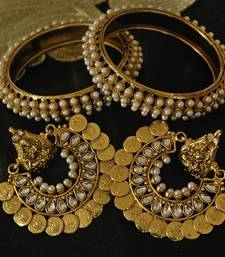 Buy Ram Leela Kundan Earrings with Gold Plated Pearl Bangles party-jewellery online