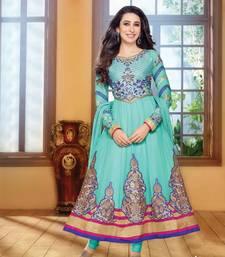 Sky Blue embroidered georgette  Semi Stitch party-wear-salwar-kameez shop online