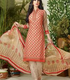 Buy Beige embroidered cotton salwar with dupatta cotton-salwar-kameez online