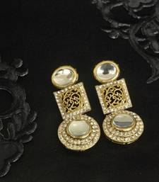 Buy Gold Plated Handcrafted White colour Earrings hoop online