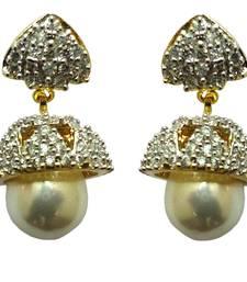 Buy Vatika white pearl american diamond jhumki earring jhumka online