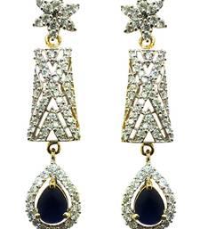 Buy Vatika blue stone american diamond earring danglers-drop online