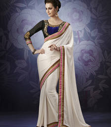 Buy Cream Chiffon Designer Saree party-wear-saree online