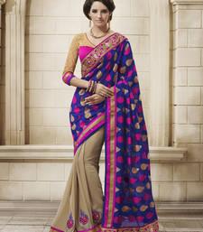 Buy Blue Georgette Designer Saree party-wear-saree online