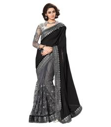 Buy black embroidered net saree with blouse net-saree online