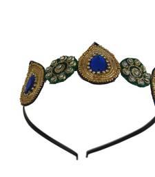 Buy Blue and Green kundan and zari work Hairband hair-accessory online