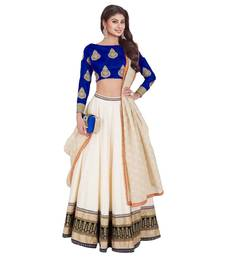 Buy Cream embroidered dupion silk unstitched lehenga with dupatta lehenga-below-1000 online