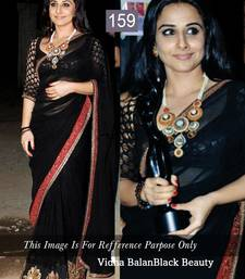 Buy Black embroidered georgette saree with blouse vidya-balan-saree online