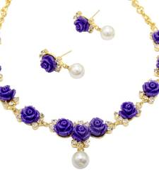Buy BEAUTIFUL FLOWER CORAL NECKLACE SET WITH EARRINGS (VIOLET) - necklace-set online