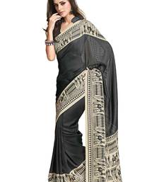 Buy Black Colored Jute Silk Printed Saree jute-saree online