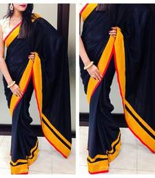 Buy Black crepe Saree with mango lace all over the saree with mango raw silk blouse piece80 cm unstitched crepe-saree online
