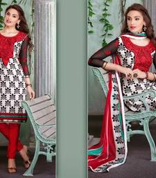 Buy Trendy White & Red Embroidered Crape Dressmaterial dress-material online
