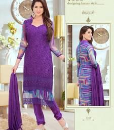 Buy Lovely Purple Karachi Dressmaterial with Digital Print dress-material online