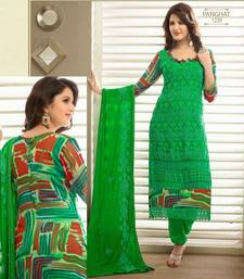 Buy Lovely Green Karachi Dressmaterial with Digital Print dress-material online
