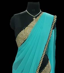 Buy Festive sea green saree with blouse georgette-saree online