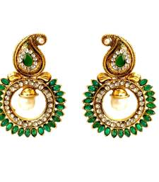 Buy Green Paisely Round Stone Earrings danglers-drop online