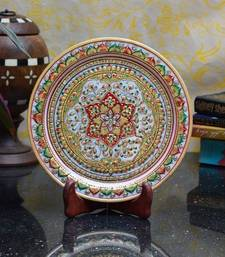 Buy Golden Floral Decorative Marble Plate with Wooden Stand decorative-plate online