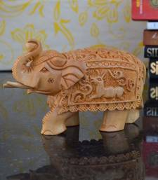 Buy Wooden Carved Elephant with Trunk Up home-decor online