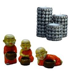 Buy Combo of Cylindrical Candle Stand(Set of 3) and Set of 3 Monks Candle Holder candle online