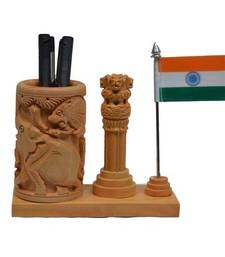Buy Wooden Pen Stand with Ashoka Pillar and National Flag wedding-gift online