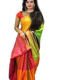 Buy Multicolor Bhagalpuri Printed Saree With Blouse printed-saree online