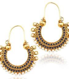 Pearl golden finish ethnic blue bali hoop indian vintage ethnic jewelry earrings mz1b shop online