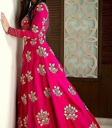 Buy Pink ambroidery taffeta semi stitched gown party-wear-gown online