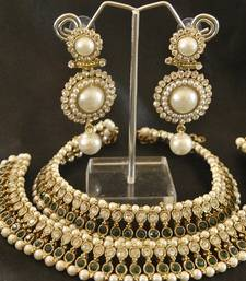 Buy Green colour Pearl Anklets & Pearl Earrings jewellery-combo online