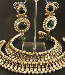 Maroon & Green colour Kundan Anklets & Green colour Earrings shop online