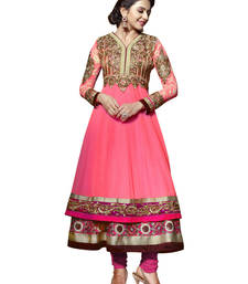 Fluorescent Pink Embroidered Pure Georgette Semi Stitched Anarkali shop online