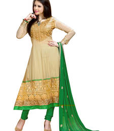 Khaki Embroidered Pure Georgette Semi-Stitched Anarkali shop online